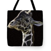 Giraffe In The Morning Pixelated Tote Bag