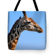 Giraffe Portrait Close-up. Safari In Serengeti. Tanzania Tote Bag