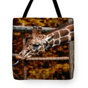 Giraffe Showing His 20 Inch Tongue Tote Bag
