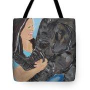 Girl And Baby Elephant Tote Bag