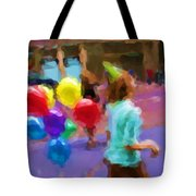 Girl And Her Balloons Tote Bag