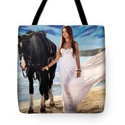 Girl And Horse On Beach Tote Bag