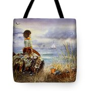 Girl And The Ocean Sitting On The Rock Tote Bag
