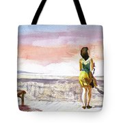 Girl Enjoying The View Tote Bag
