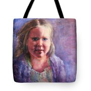 Girl In A Purple Sweater Tote Bag