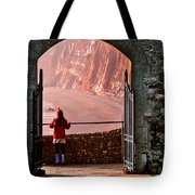 Girl In A Red Hat Tote Bag
