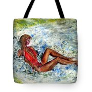 Girl In A Red Swimsuit Tote Bag