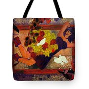 Girl In Abstract Tote Bag