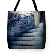 Girl In Nightgown On Circular Stone Steps Tote Bag