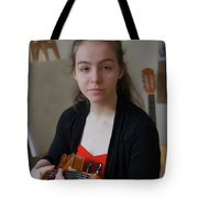 Girl In Red And Black With A Violin Tote Bag