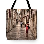 Girl In Red In The White Streets Of Dubrovnik Tote Bag