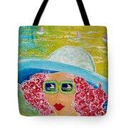 Girl In Sun Hat Tote Bag