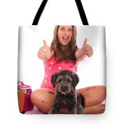 Girl In Swimsuit At The Beach Showing Thumbs Up Tote Bag