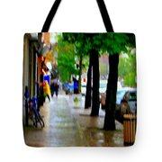 Girl In The Yellow Raincoat Rainy Stroll Through Streets Of The City Montreal Scenes Carole  Tote Bag
