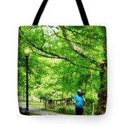 Girl Jogging With Dog Tote Bag