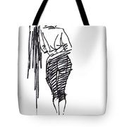 Girl Leaning Against Wall Tote Bag