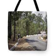 Girl On A Mountain Highway Road Tote Bag