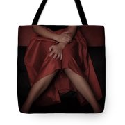 Girl On Black Sofa Tote Bag