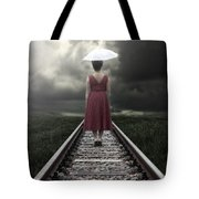 Girl On Tracks Tote Bag