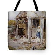 Girl Outside A Cottage Tote Bag