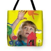 Girl Painting On Glass Tote Bag