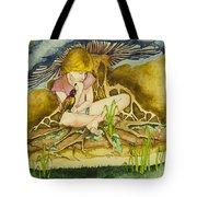 Girl Under Mushroom Tote Bag