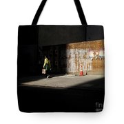 Girl Walking Into Shadow - New York City Street Scene Tote Bag