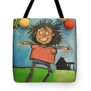 Girl With Balloons And Dog Tote Bag