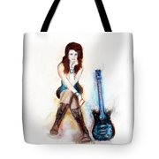 Girl With Blue Guitar Tote Bag