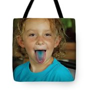 Girl With Blue Tongue Tote Bag
