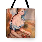 Girl With Dasies Tote Bag