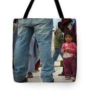 Girl With Family At Taj Mahal Tote Bag