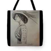 Girl With Feathered Hat Tote Bag