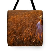 Girl With Hat In Field Tote Bag