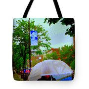 Girl With Large Umbrella Its Raining Its Pouring April Showers Montreal Scenes Carole Spandau Art Tote Bag