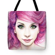 Girl With Magenta Hair Tote Bag