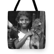Girl With Pet Peccary Tote Bag