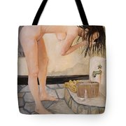 Girl With The Golden Towel Tote Bag