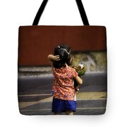 Girl With Toy Dog Tote Bag