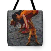 Girl With Two Dogs Tote Bag