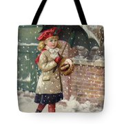 Girl With Umbrella In A Snow Shower Tote Bag