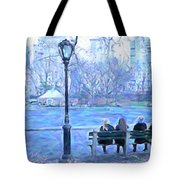 Girls At Pond In Central Park Tote Bag