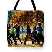 Girls Jogging On An Autumn Day Tote Bag