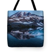 Glacial Rainier Morning Reflection Tote Bag