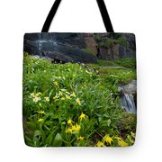 Glacier Lilies And Globeflower Beside A Mountain Stream Tote Bag