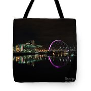 Glasgow Clyde Arc Bridge At Night Tote Bag