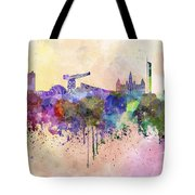 Glasgow Skyline In Watercolor Background Tote Bag