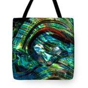 Glass Macro - Blue Green Swirls Tote Bag