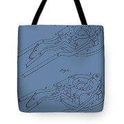 Glass Mold Patent On Blue Tote Bag