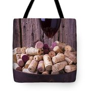 Glass Of Wine With Corks Tote Bag